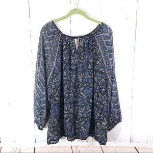 Lucky Brand Blue Purple Boho Peasant Blouse